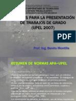 NORMAS PARA LA PRESENTACIÓN DE TRABAJOS DE GRADO  (UPEL 2007)-1
