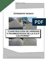 Expediente Tecnico de Veredas y Pavimentacion H.U.P California