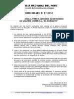 COMUNICADO PNP  POLICÍA NACIONAL PRECISA HECHOS ACONTECIDOS EN GALERÍA COMERCIAL 'EL HUEQUITO'