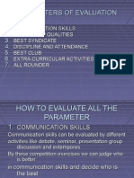 Parameters of Evaluation