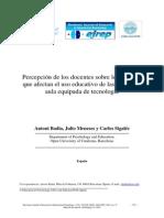PERCEPCIÓN DE DOCENTES SOBRE AULAS CON TICS