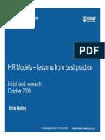 Cl-Henley Centre HR Models Desk Research October 2009