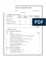 CBSE Class 12 Political Science Design of Question Paper 2010