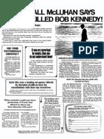 Marshall McLuhan Says That TV Killed Bob Kennedy
