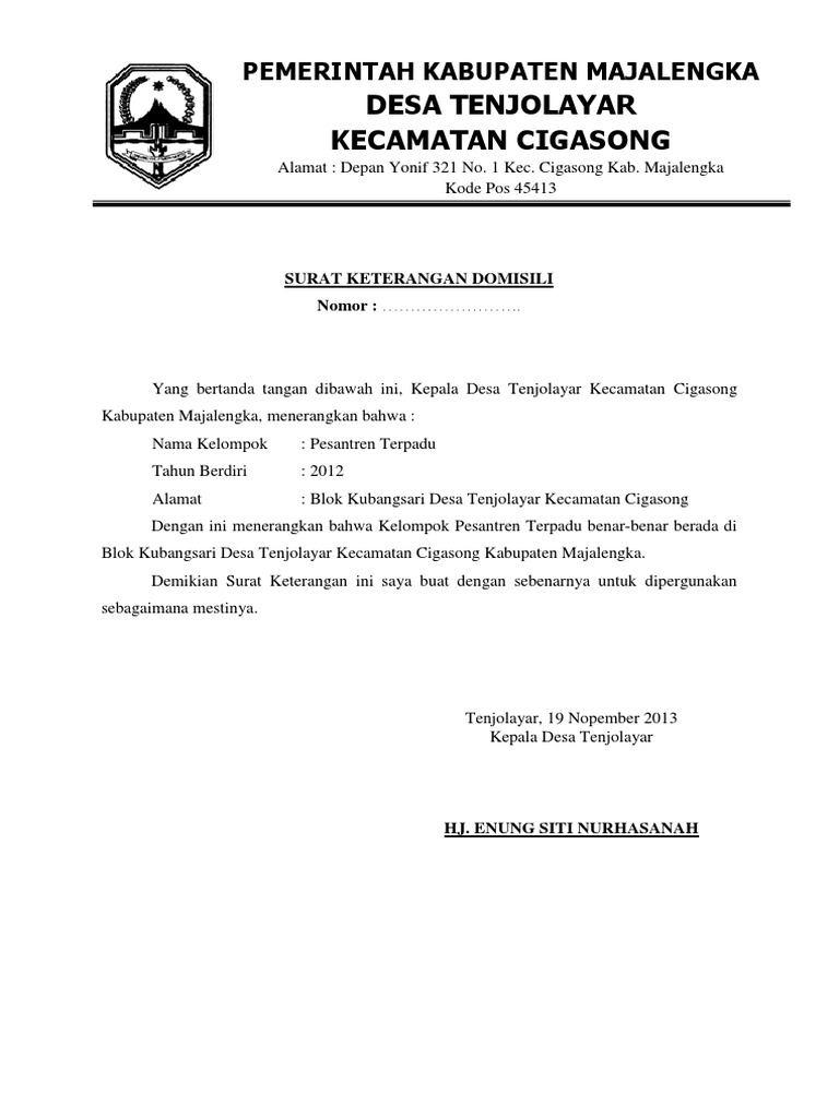 Contoh Surat Domisili Desa