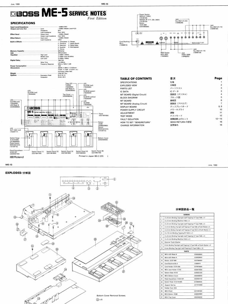 Roland Boss Me-5 Service Manual