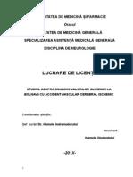 Lucrare de Licenta -  Studiul Asupra Dinamicii Valorilor Glicemiei La Bolnavi Cu Accident Vascular Cerebral Ischemic