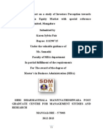 A Project Report on a Study of Investors Perception Towards Investment in Equity Market -1
