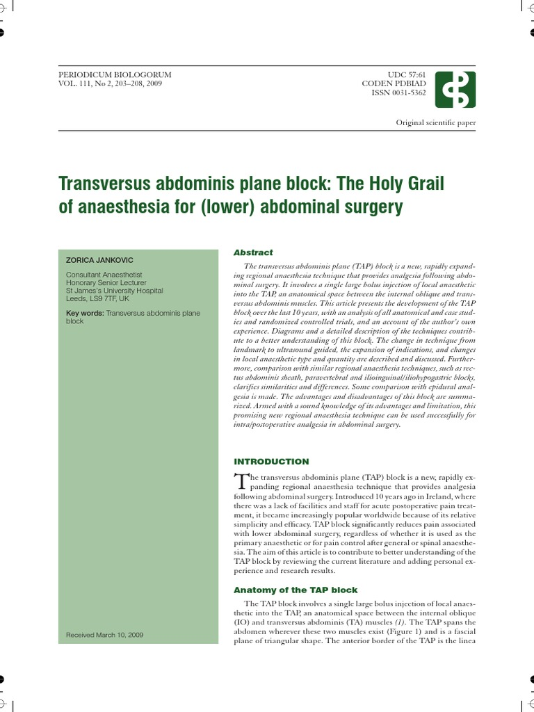 TAP Block Review   Abdomen   Anesthesia