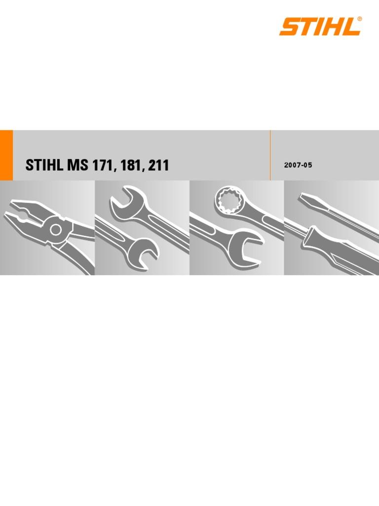 ms171 ms181 ms211 service manual carburetor cylinder engine rh scribd com Stihl MS 201 Cem Stihl MS 170 Parts Diagram