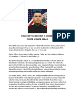 NYPD Statement on Death of PO Guerra