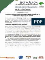 23.- DOS VICTORIAS HISTÓRICAS E ILUSIONANTES DE EBG EN EL ANDALUZ JÚNIOR