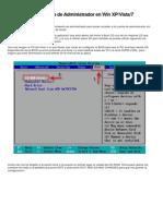 Desactivar contraseña de Administrador en Win XP