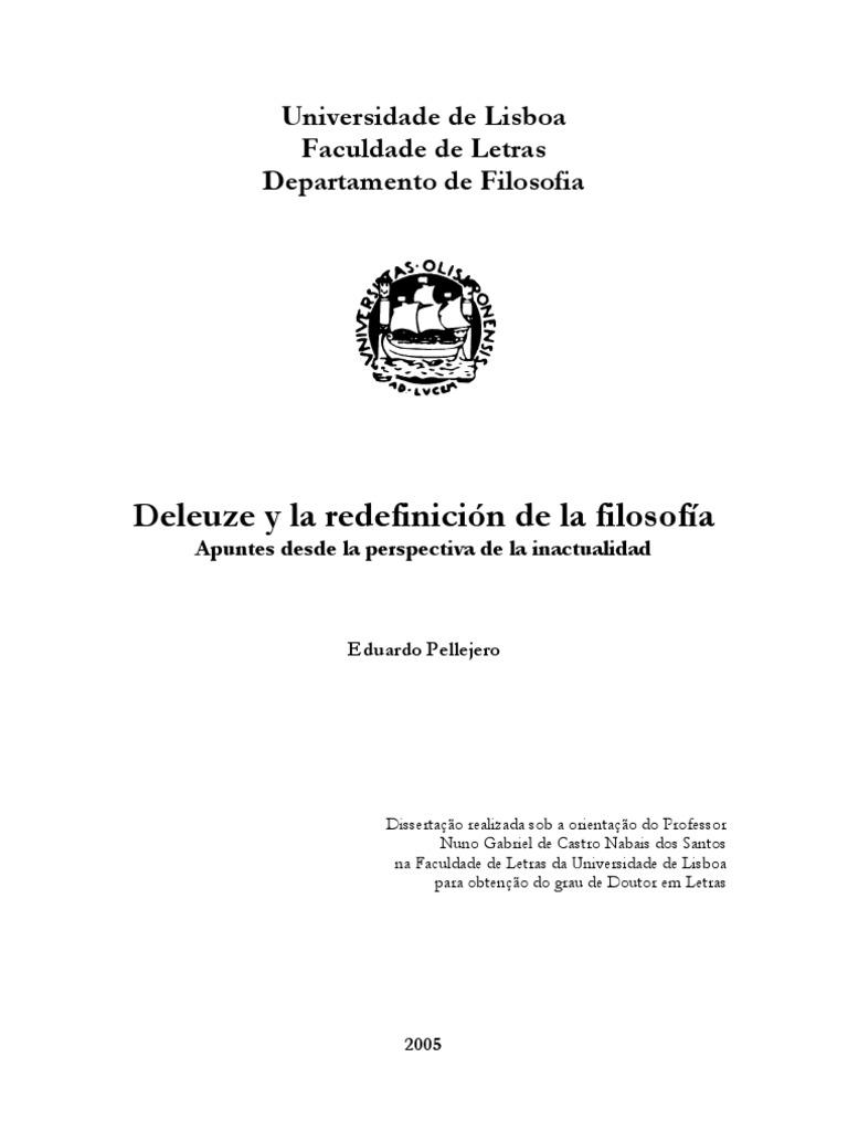 Eduardo Pellejero, Deleuze y la redefinición de la filosofía ...