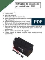 Manual Máquina de Fumaça LP800 - Luz de Prata