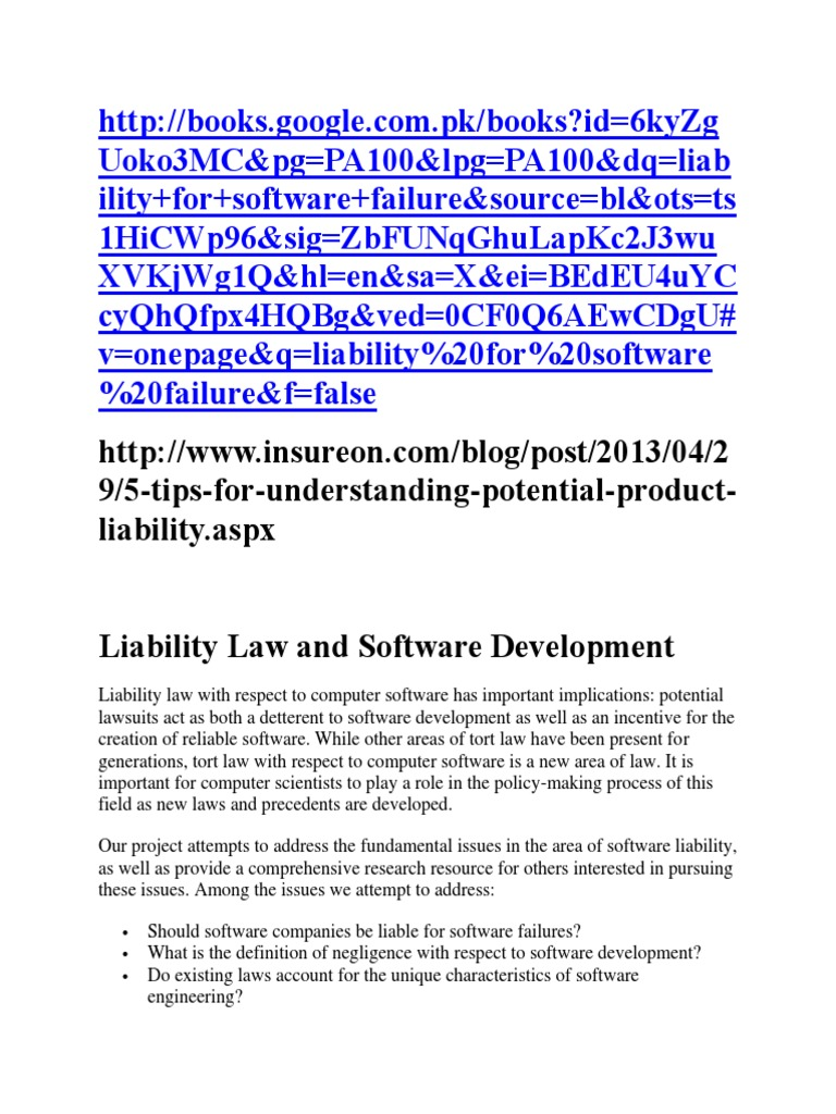 liability law and software development | damages | negligence