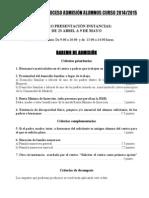 Baremo admisión de alumnos curso 2014-15