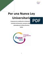 Anexo 1. Nueva Ley Universitaria, Modificaciones Propuesta Por FEPUC