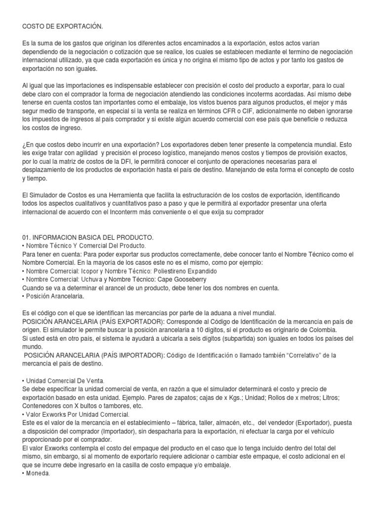 COSTO DE EXPORTACIÓN