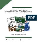 Design & Use of Direction Informatory Signs (LTN1 94) Ha