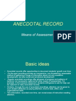 Continuous Comprehensive Evaluation - Anecdotal Record