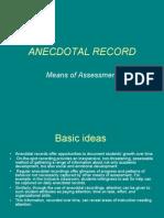 Continuous Comprehensive Evaluation - Anecdotal Record