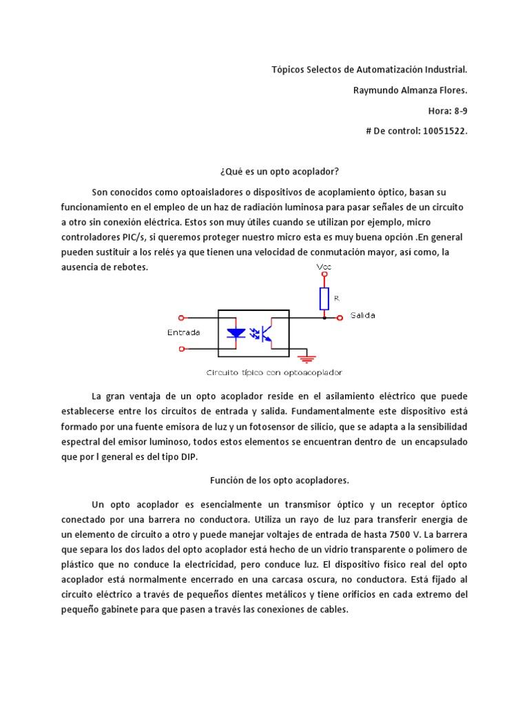 Circuito Optoacoplador : Que es un optoacoplador