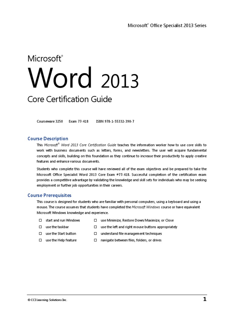 3250 Word Core Outline Microsoft Word Technology