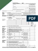 2011 Irs Tax Form 1040 a Individual Income Tax Return