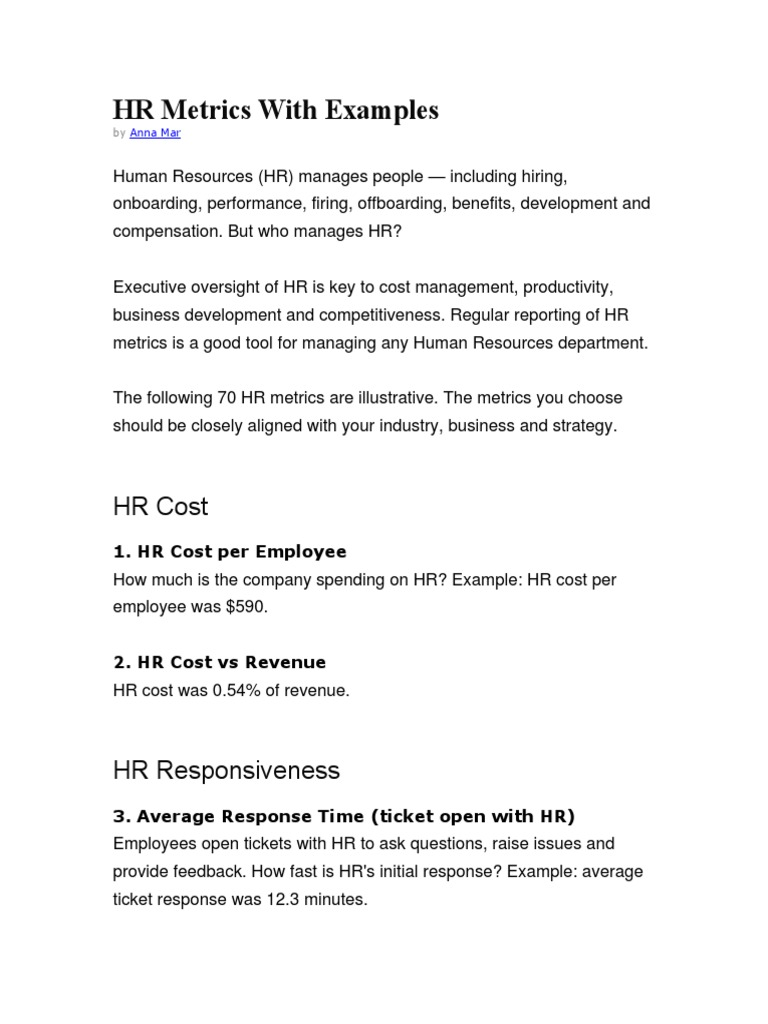 HR Metrics With Examples | Employee Retention | Employment
