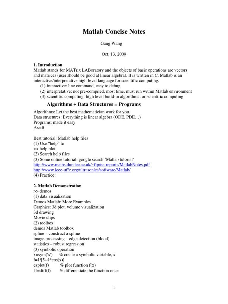 Matlab Concise Notes | Control Flow | Matrix (Mathematics)