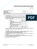 SNAP 2009 Question Paper and Ans Key