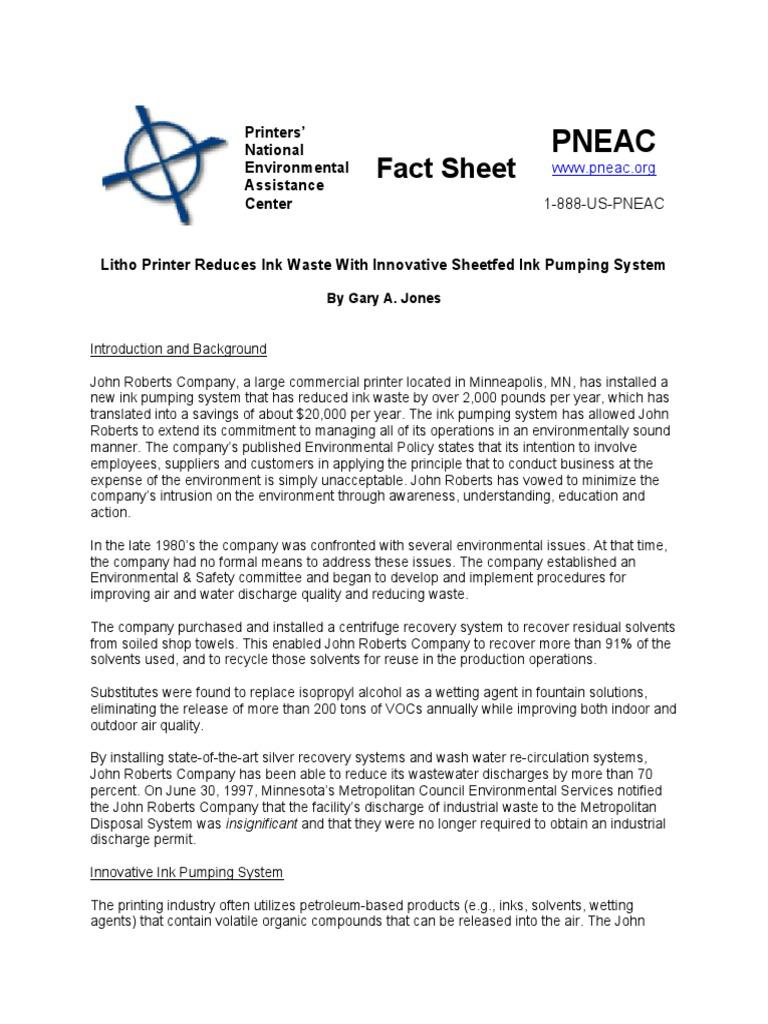 John Roberts Printing Case Study | Ink | Waste