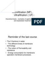 MicroFiltration and UltraFiltration Lecture Notes