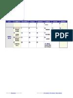 2014 Weekly Calendar
