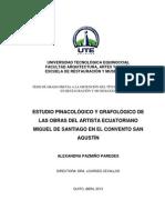 ESTUDIO PINACOLÓGICO Y GRAFOLÓGICO DE LAS OBRAS DEL ARTISTA ECUATORIANO MIGUEL DE SANTIAGO EN EL CONVENTO SAN AGUSTÍN