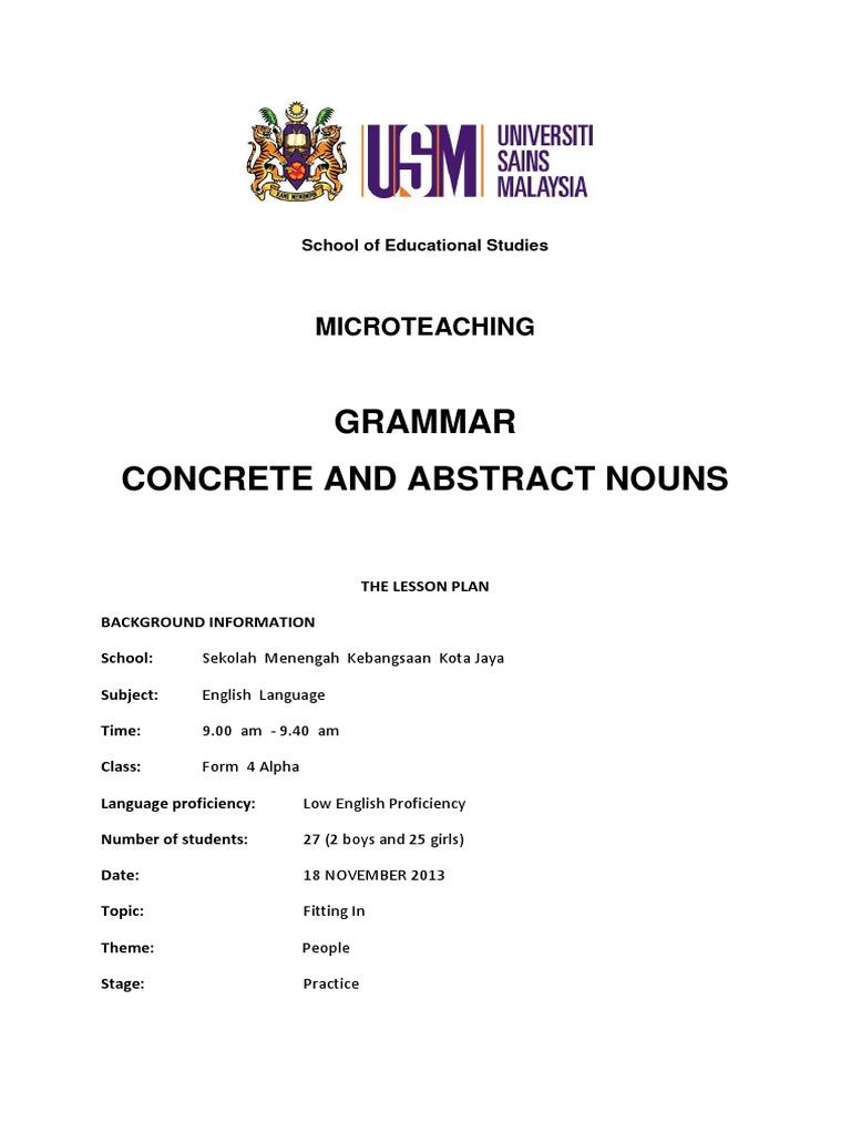 Lesson Plan Concrete And Abstract Nouns Lesson Plan Teachers