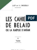 Les Cahiers de Belaid ou la Kabylie d'antan, par Belaid Aït Ali