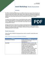 Staff Development Workshop - Needs Assessment