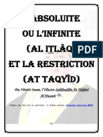 CHAPITRE 1- L_ABSOLUITE OU L_INFINITE (ITLÂQ) ET LA RESTRICTION (TAQYÎD)