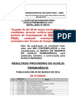 Result a Do Proviso Rio 2014