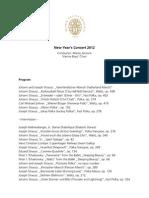 Neujahreskonzert 2012 Programme