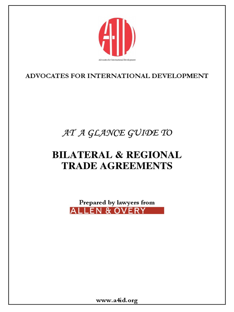Bilateral And Regional Trade Agreements Trade Agreements World