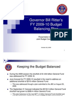 Governor Bill Ritter's FY 2009-10 Budget 2009 10 Balancing Plan