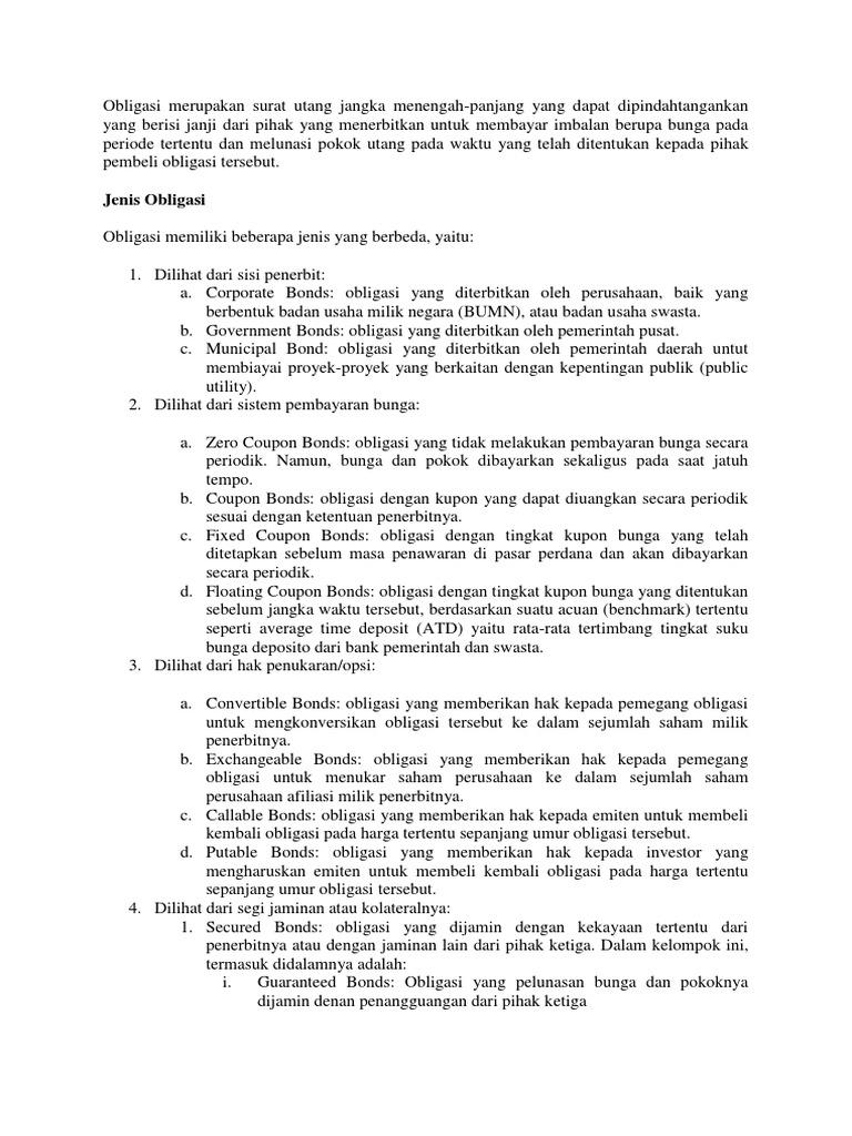 Obligasi Merupakan Surat Utang Jangka Menengah