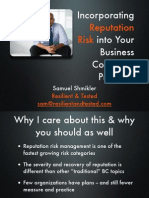 Incorporating Reputation Risk Into Your Business Continuity Program