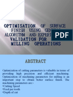optimisation of machining parameters in end milling process