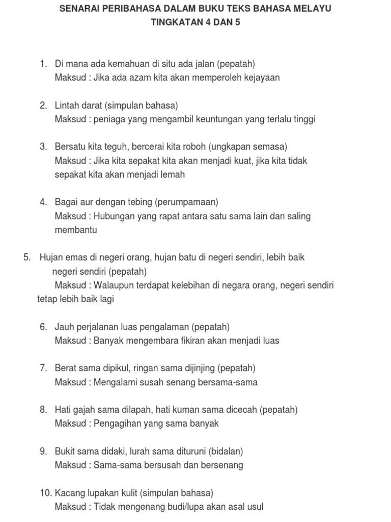 Senarai Peribahasa Dalam Buku Teks Bahasa Melayu