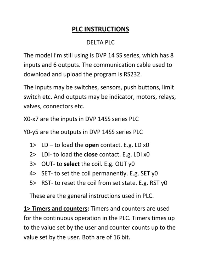 delta plc instructions timer programmable logic controller rh pt scribd com Ensco plc Application Learning plc Ladder Logic