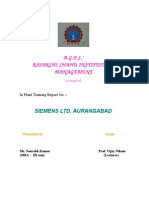 Inplant Training Report on Siemens Ltd